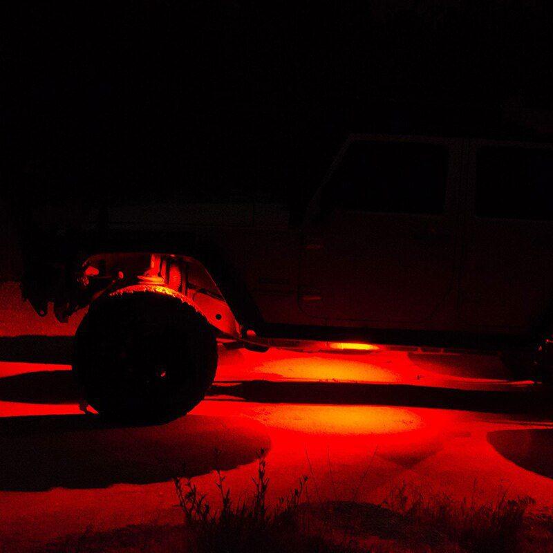 8 Pots Waterproof Car Underglow RGB Decorative Led Rock Light Kit by Phone Bluetooth for Offroad 4x4 Wrangler UTV ATV