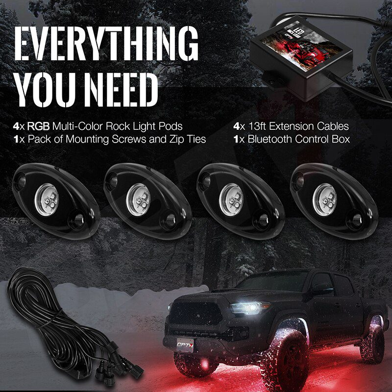 4 Pot Car Waterproof Underbody RGB Decorative Led Rock Light by Phone Bluetooth Control for Offroad Wrangler
