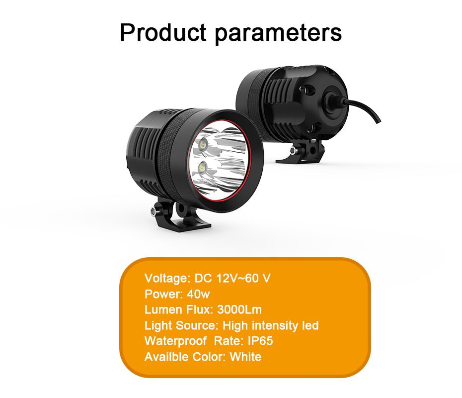 Super Bright 40W 60W 90W Motorcycle Led Headlight Accessories Decorative Lamp for Fog Light Driving Light