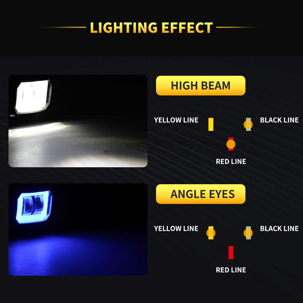 2Pcs 40W 3 Inch IP68 Waterproof Motorcycle Led DRL Decorative Fog Light Kit with Turn Signal Red White Blue Yellow