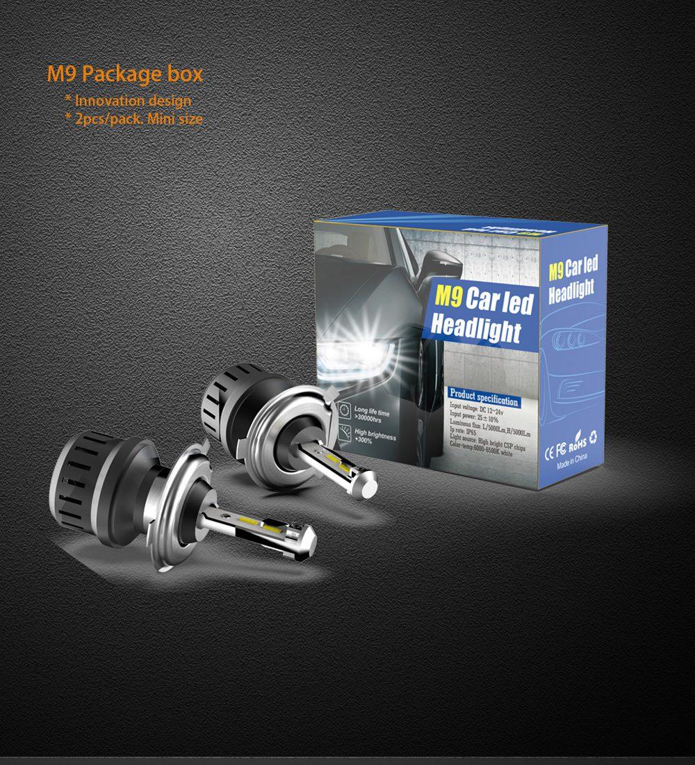 50W 10000Lm a Set Car Led H1 H4 H7 H11 H8 Headlight Light Bulb as Fog lamp by Fan Cooling