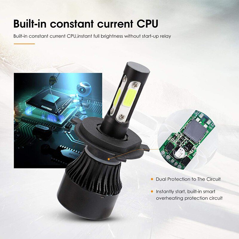 Super Bright Car 8000LM 4 Side COB Chip 9005 9006 9004 9007 H4 H7 Led Headlight Bulb with Fan Cooling for Headlamp Fog Light