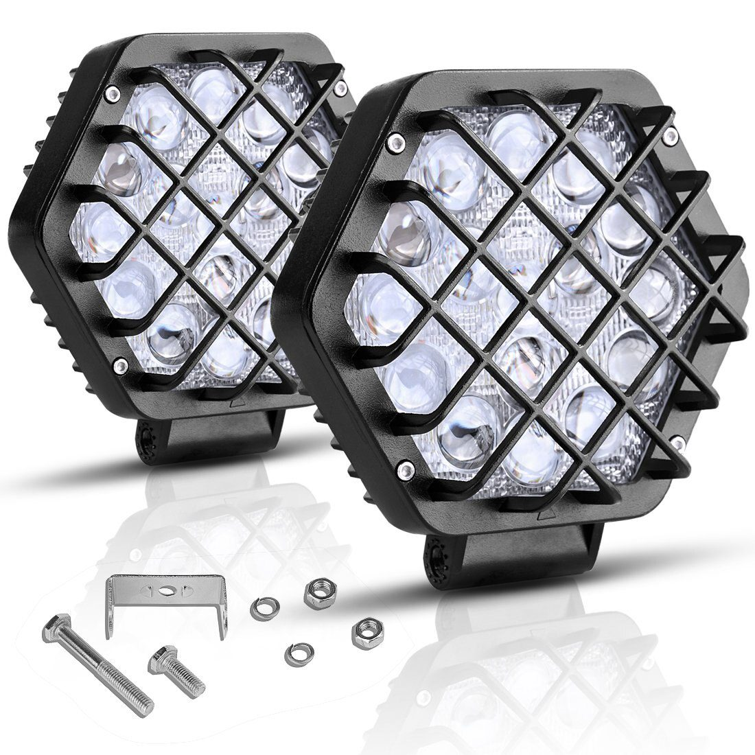 27W 42W Led Work Driving Light Spot Beam with Protective Cover Net for 4x4 Offroad Car Truck ATV SUV