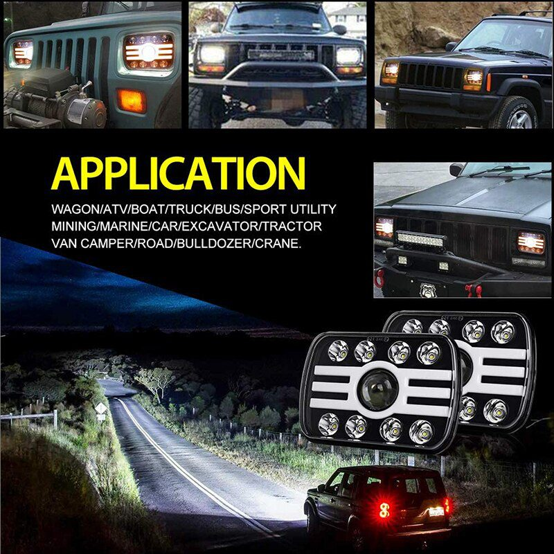 2 Pcs 5x7 Rectangular Sealed Beam 11000Lm 9 Leds Headlight with DRL Turn Signal for Wrangler YJ XJ SUV