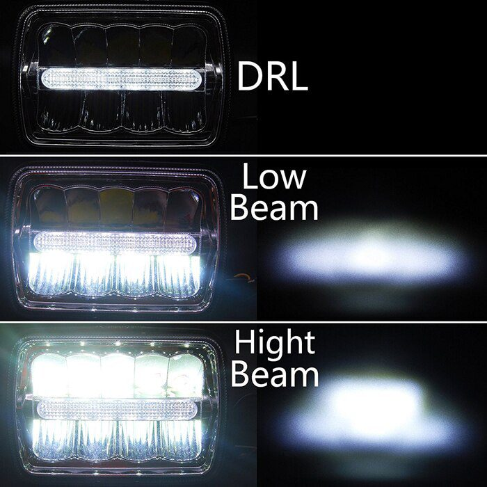 45W Rectangular Seal Beam 4X6 Inch Led Truck Headlight with DRL for Offroad Truck ATV 2pcs