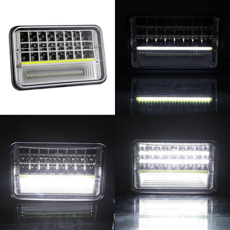 Super Bright 270W 4x6 IP68 Rectangular Seal Beam Truck H4 Led Headlight with DRL for Offroad ATV SUV 2pcs