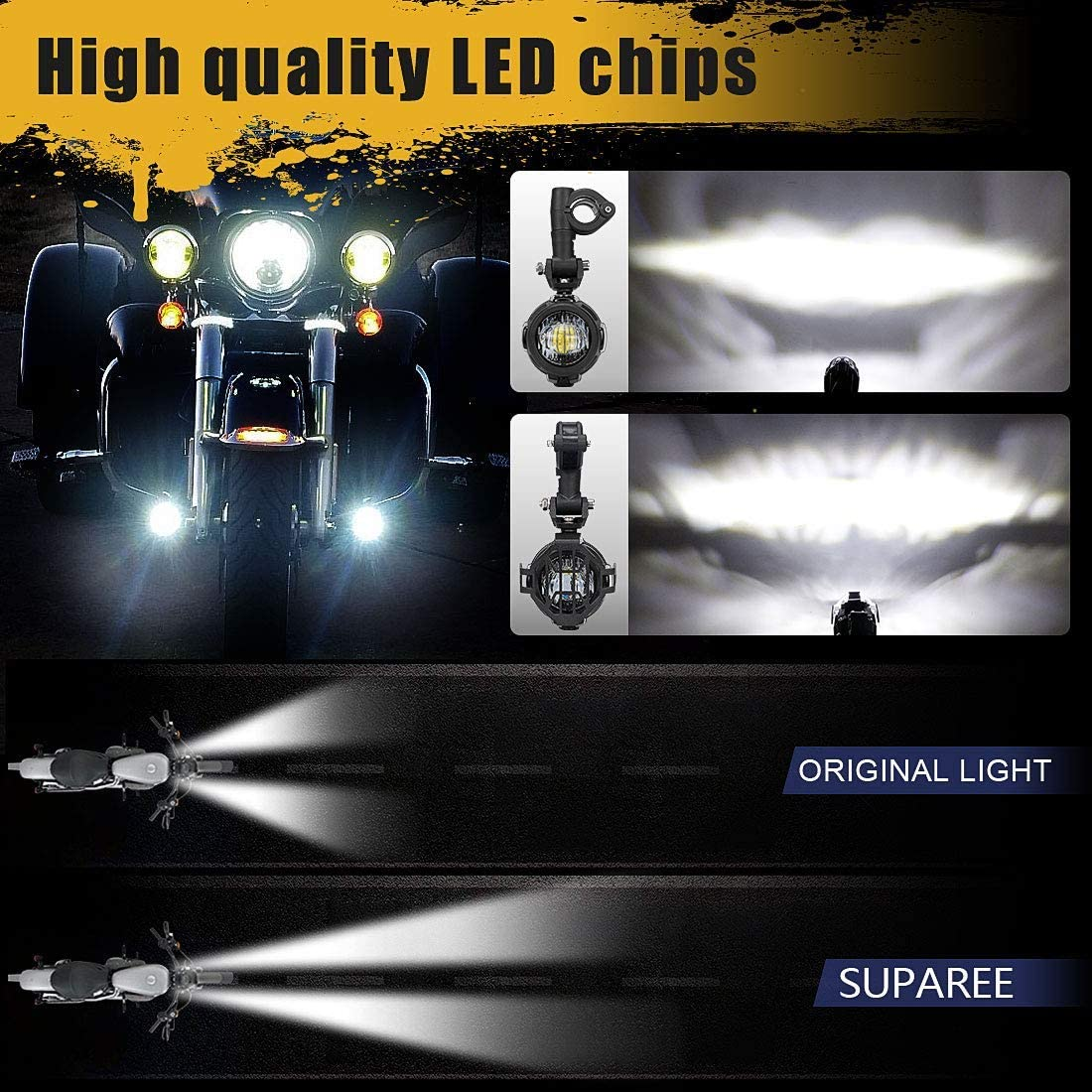 Motorcycle LED Auxiliary Driving Fog Light Accessories with Brackets Protect Net for F700GS/F650S/K1600