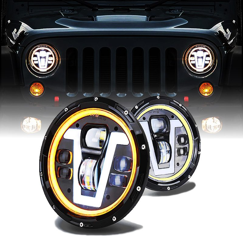 7 Inch V Type Halo Ring Drl Led Headlight With Amber Turn