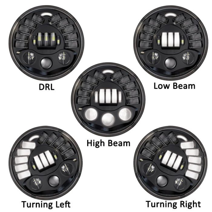 Super Bright 7 Inch LED 84W Headlight DRL with Gravity Sensor and Turn Signal Light for H4 Plug and Play Harley Motorcycles